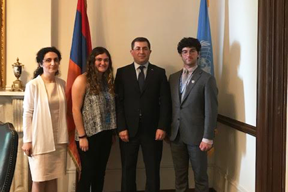 ARS UN Interns Anoosh Kouyoumdjian and Alec Mesropian at the Mission of Armenia with Permanent Representative of Armenia to the UN Mher Margaryan (far right)