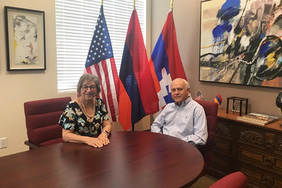 Catherine Yesayan (left) with Adroushan (Andy) Armenian, the Honorary Consul of the Republic of Armenia in Las Vegas