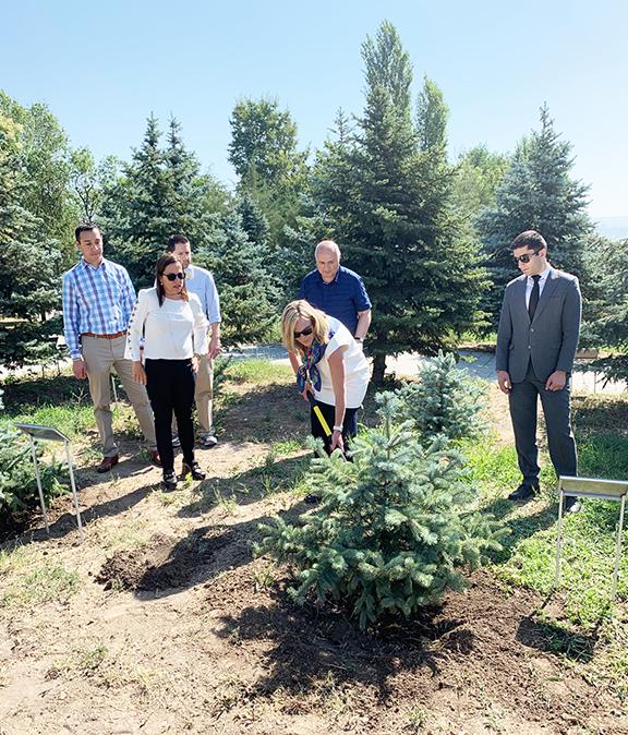 LA County Supervisor Kathryn Barger plants a tree at Dzidzernagapert