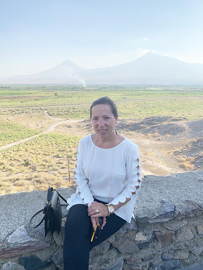 California Lieutenant Governor Eleni Kounalakis in front of Mt. Ararat
