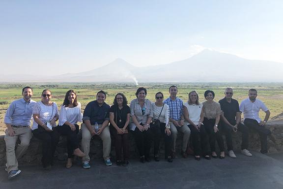 The ANCA-WR-;led delegation in front of Mt. Ararat