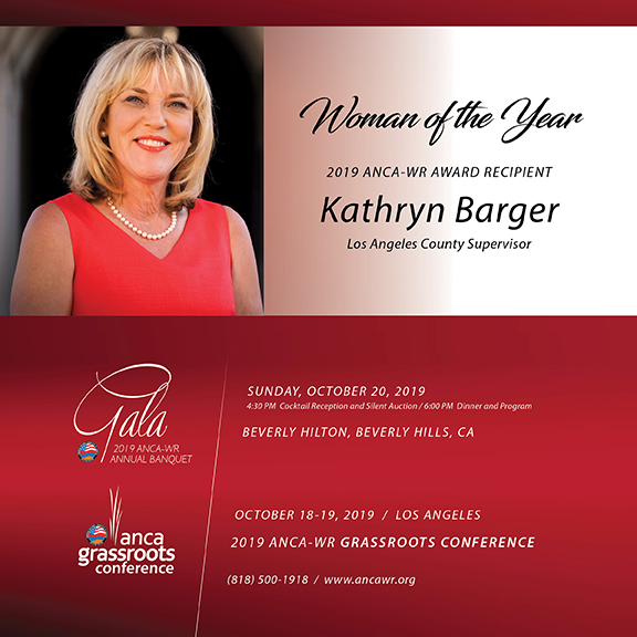 LA County Supervisor Katheryn Barger to be honored by ANCA-WR