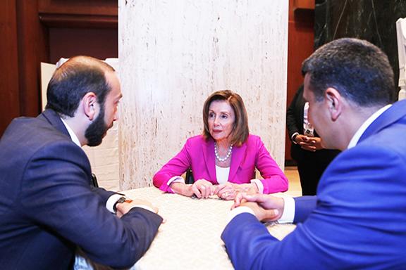 Speaker of the House Nancy Pelosi meets with Speaker of Armenia's parliament Ararat Mirzoyan