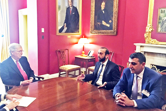 Senate Majority Leader Mitch McConnell meets with Armenia's Parliament Speaker Ararat Mirzoyan