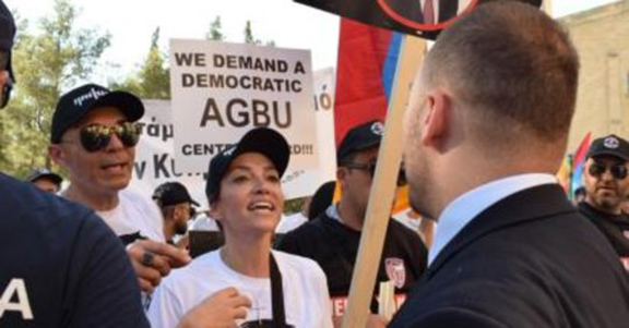 Melkonian Global Initiative founder Arsine Shirvanian during the July 5 protest