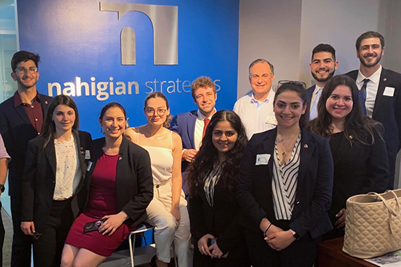 Daron Pogharian and the ANCA Leo Sarkisian interns with prominent political consultant Keith Nahigian of Nahigian consulting