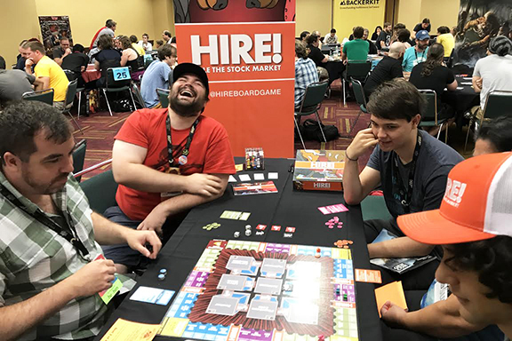 HIRE! was playtested by complete strangers at GenCon's first exposure playtest hall