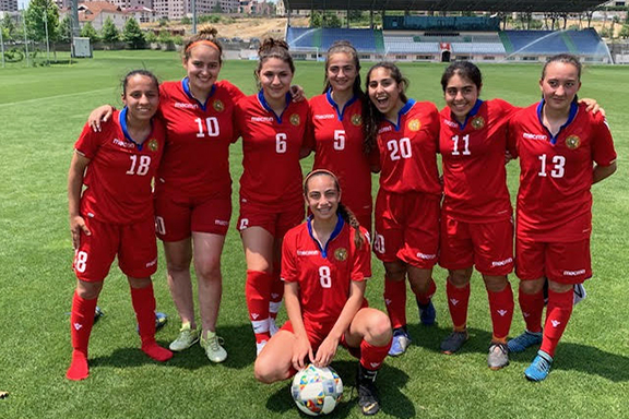 The Armenian American players pose with their teammates