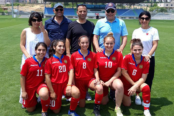 The Armenian American team members with a few of their parents