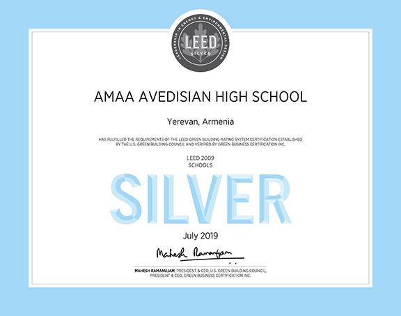 AMAA's Avedisian School in Yerevan received a Silver LEED Certificate