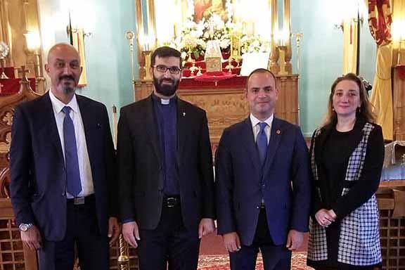 From l to r: ARF-ER CC member Valot Atakhanian, Very Reverend Sahag Yemishian, High Commissioner of Diaspora Affairs of the Republic of Armenia Zareh Sinanyan, ARF-ER CC member Ani Tchaghlasian