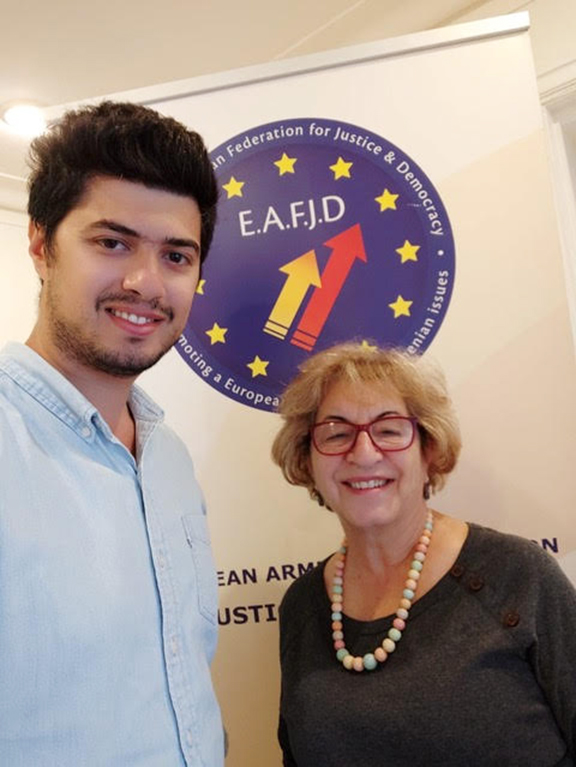 Catherine Yesayan with Harout Chahinian at the Hay Taad office