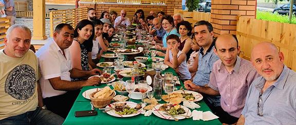The Ghazarians had lunch with Artak Beglaryan, Ombudsman of Artsakh, Arman Tatoyan, Ombudsman of Armenia, and extended families