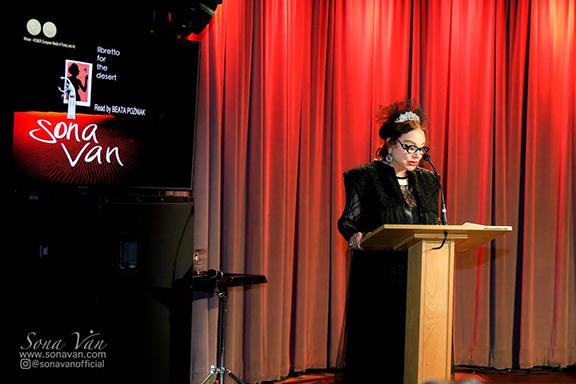 Sona Van addressing attendees at her audiobook presentation