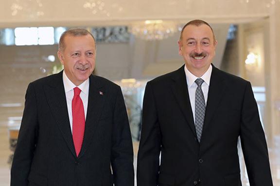 Turkish President Recep Tayyip Erdogan and Azerbaijani President Ilham Aliyev at the Summit of Turkic Nations in Baku this week