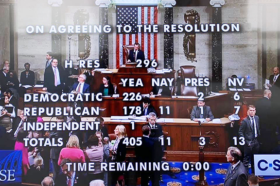 The final tally of votes for the Armenian Genocide resolution