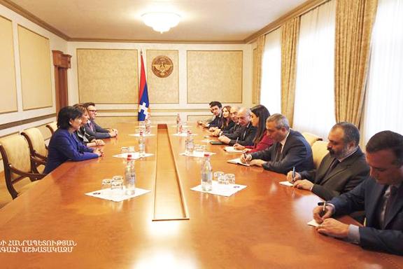 Reps. Jackie Speier and Judy Chu meet with Artsakh President Bako Sahakian on Oct. 8