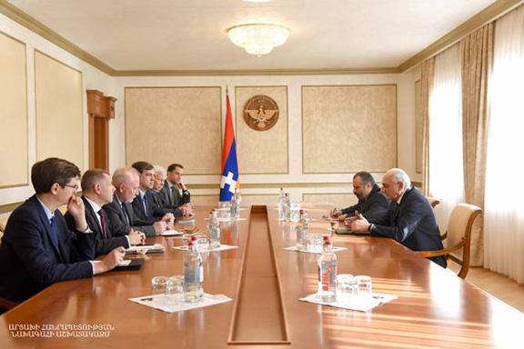 OSCE Minsk Group co-chairs meet with Artsakh President Bako Sahakian on Oct. 16 in Stepanakert