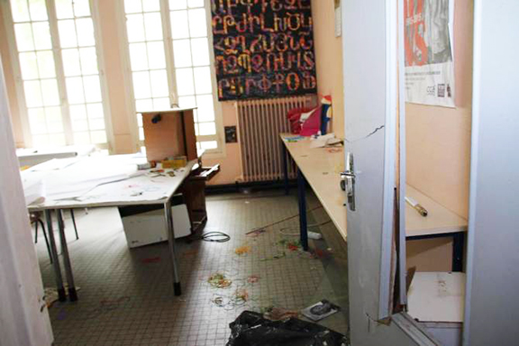 One of the reportedly 24 classrooms that were vandalized at the Samuel Mourad school in Sevres on Tuesday