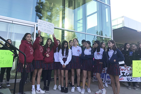 The AGBU MHS student protesters were joined by Hovsepian School students