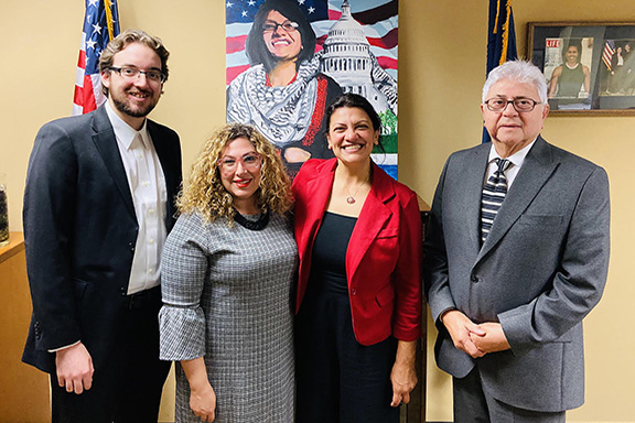 Representatives from the Armenian National Committee of Michigan with Representative Rashida Tlaib (D-MI) on Thursday, October 2. Pictured from left to right: Raffi Vandevelde, Lara Nercessian, Representative Tlaib and Nishan Apigian