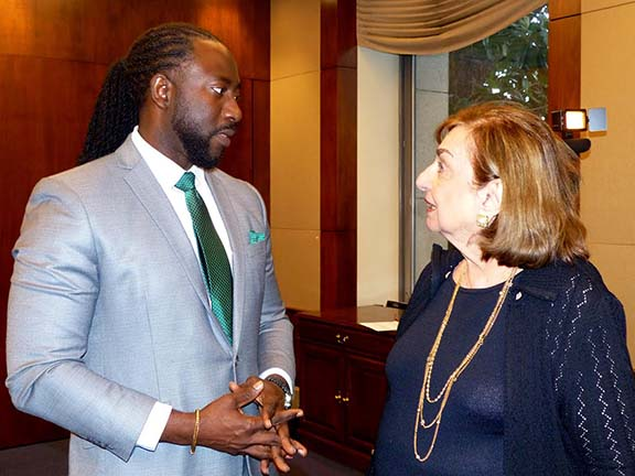 Genocide and reparations expert Dr. Jermaine McCalpin speaking with Ms. Sue Aramian, who inspired the ANCA's Lemkin Policy Series