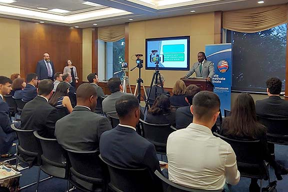 """Dr. Jermaine McCalpin discusses """"Reparations, Recognition and the Armenian Genocide"""" at the second installment of ANCA's Raphael Lemkin Policy Series"""