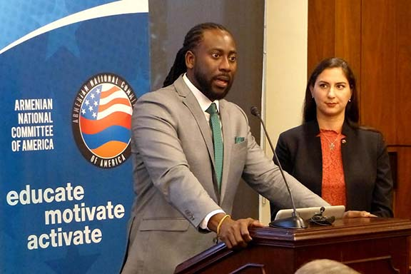 """Dr. Jermaine McCalpin, seen here with ANCA Government Affairs Director Tereza Yerimyan. During his Lemkin Policy Series remarks, Dr. McCalpin stated, """"Reparations provide the opportunity to honestly engage the past, making peace with the past, because it serves as a mechanism of atonement for the 'sin of genocide."""""""