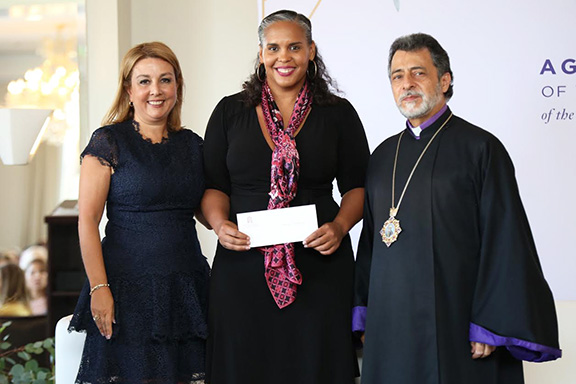Chairlady Alice Chakrian, YWCA Glendale Executive Director Tara Peterson and Archbishop Hovnan Derderian