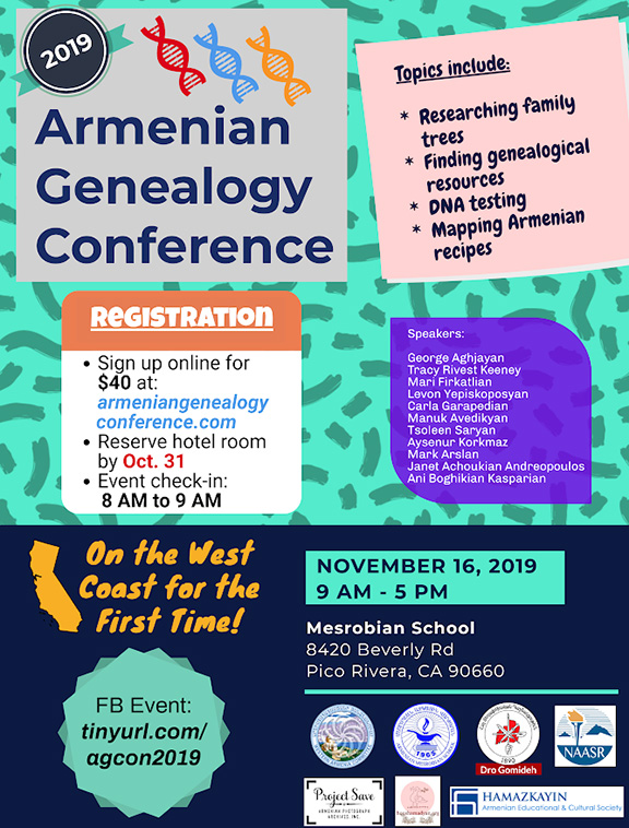 The first-ever West Coast Armenian Genealogy Conference will take place on Nov. 16 at Mesrobian