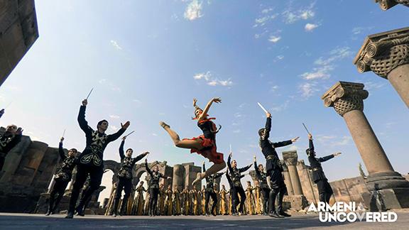"""Armenian dancers performing the Sabre Dance, a movement in Aram Khachaturian's """"Gayane"""""""