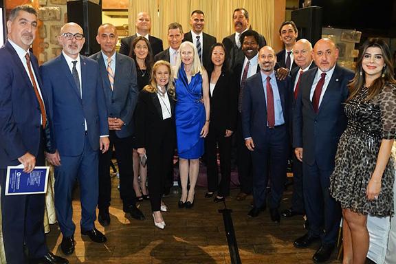 Honorees Bendix and Kwan surrounded by the Armenian Bar's Leadership Circle