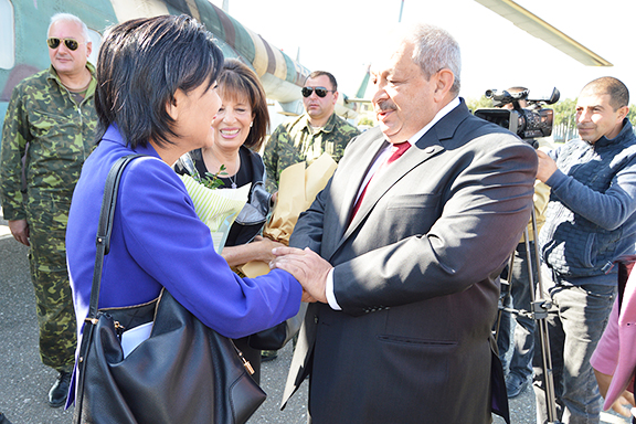 Representatives Judy Chu and Jackie Speier are greeted at Stepanakert Airport by ANCA-WR Board member Raffi Sarkissian