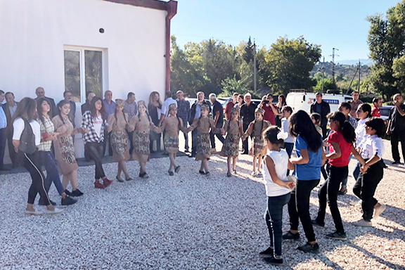 It was a celebration outside of the new ARF Torlakian Fundukian Youth Center at the the Kovkasakan village in Kashatagh, Artsakh
