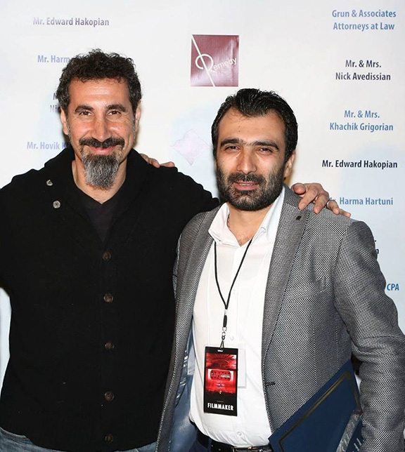 """Serj Tankian (left), photographed here with Avetisyan, wrote the musical score for """"The Last Inhabitant."""" (Photo: Yerkir.am)"""