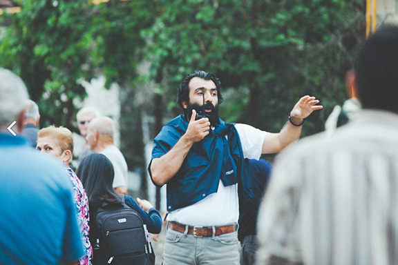 """Avetisyan on the set of """"Gate to Heaven"""" (Photo courtesy of Fish Eye Arts)"""