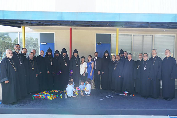 Memebers of the clergy during a visit to Armenian Mesrobian School