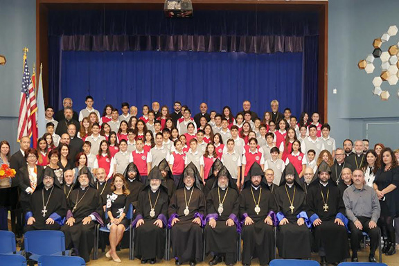 Members of the clergy visited Vahan and Anoush Chamlian School students