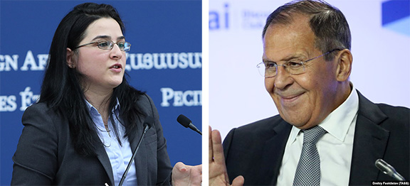 Armenia's Foreign Ministry spokesperson Anna Naghdalyan and Russian Foreign Minister Sergey Lavrov