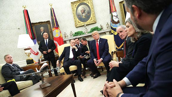 A meeting between Presidents Erdogan and Trump at the White House attended by senators on Nov. 13 was reportedly tense (Photo by Alex Wong/Getty Images)
