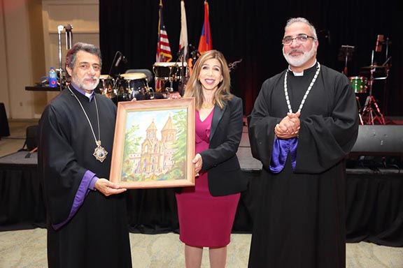 From left to right: Archbishop Hovnan Derderian, San Diego District Attorney Summer Stephan, and the Very Rev. Pakrad Berjekian