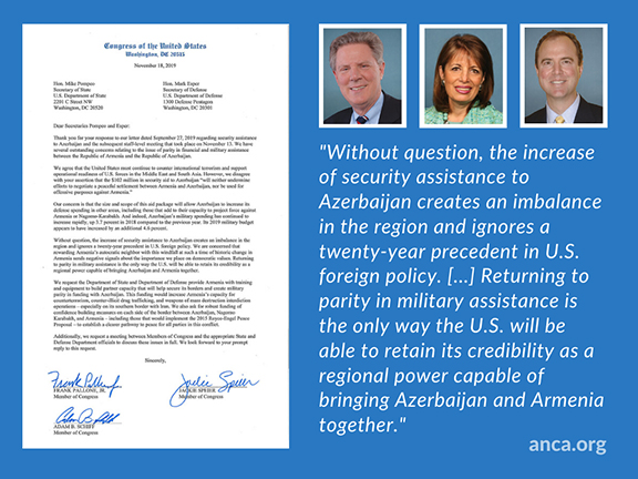 The ANCA is in support of the Congressional Armenian Caucus Campaign to restore U.S. military aid parity to Armenia and Azerbaijan