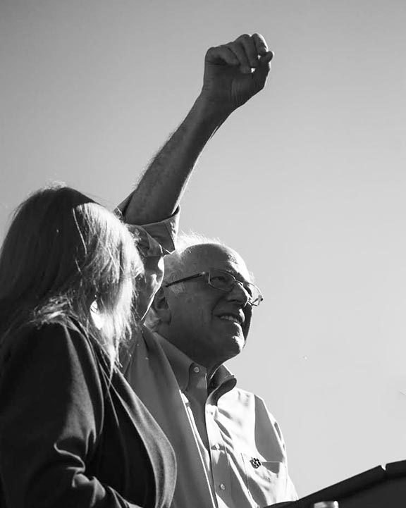 Senator Sanders wore a commemorative Forget-Me-Not pin during his rally in East Los Angeles