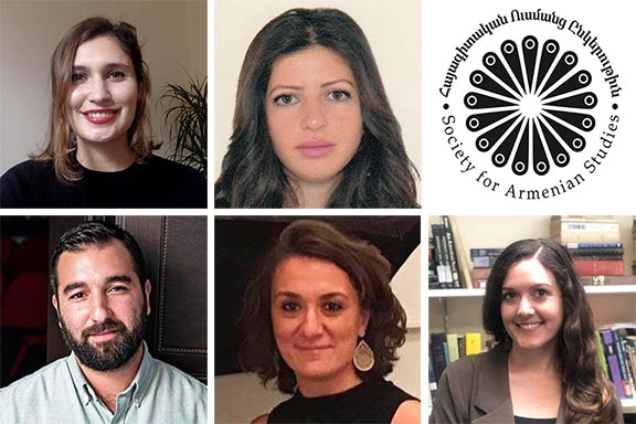 Five of the six grant recipients. Top row l to r: Irem Gülersönmez, Sose Grigoryan, SAS Logo. Above l to r: Varak Ketsemanian, Garine Palandjian, and Megan Dixo
