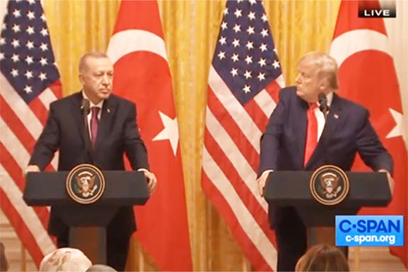 President Erdogan and Trump during a  White House press conference on Nov. 13
