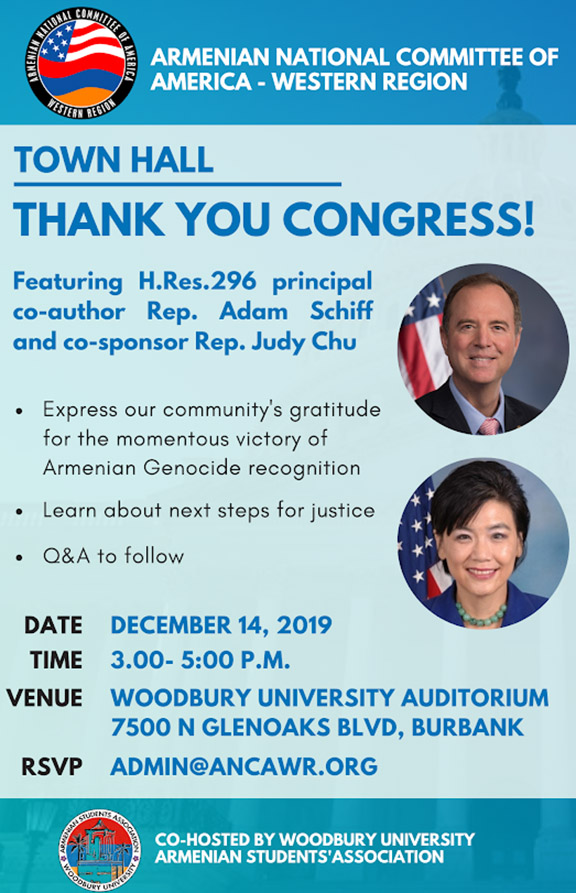 The ANCA-WR will hold a community town hall with Reps. Adam Schiff and Judy Chu on Dec.14