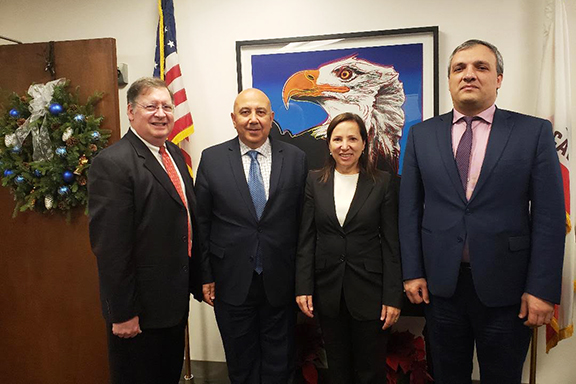 From left: Evan G. Reade, Ambassador Armen Baibourtian, Emily Desai, Special Advisor for International Affairs and Investment, and Counselor Varazdat Pahlavuni