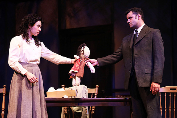"""Rachel Weck and Travis Leland in """"Beast on the Moon"""" at ITC in Long Beach. Photo by Tracey Roman"""