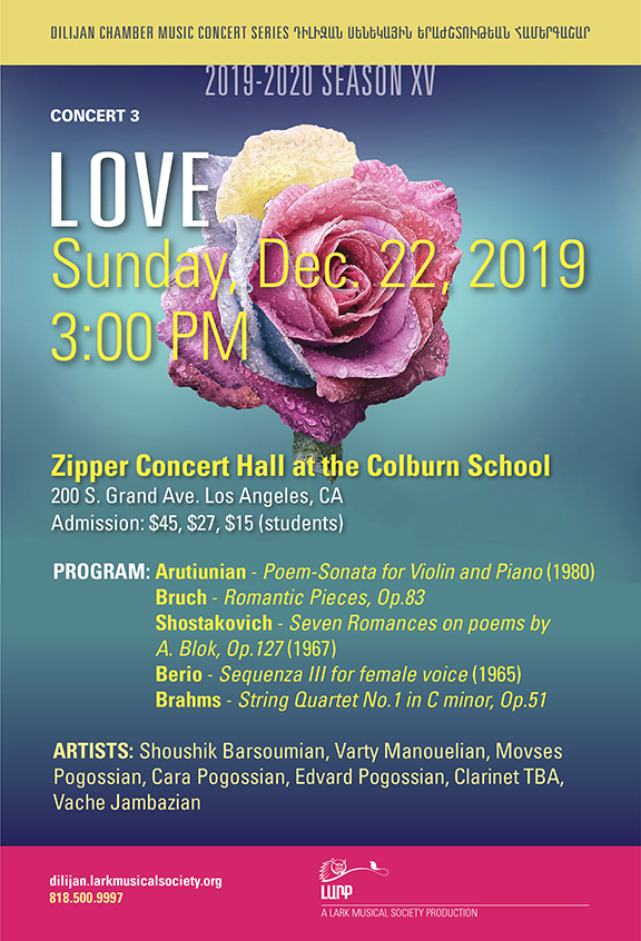 """""""Love,"""" Dilijan Chamber Music Series' 3rd concert of the 15th season will be held on Dec. 22"""