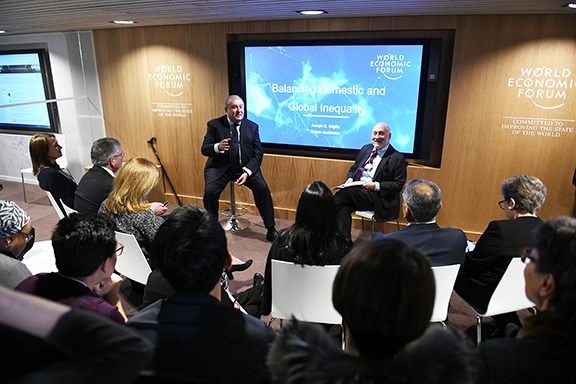 """President Armen Sarkissian i joined by Nobel laureate Joseph Stiglitz in delivering a keynote address entitled """"Balancing Global and Domestic Inequality"""" at World Economic Forum in Davos"""